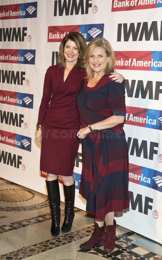 Norah O'Donnell and Cynthia McFadden. Co-hosts Norah O'Donnell and Cynthia McFadden arrive at the International Women's Media Foundation's 27th Annual Courage in royalty free stock photo