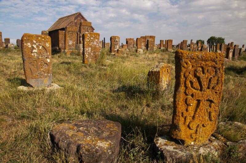 Noratus墓地,亚美尼亚 免版税库存图片