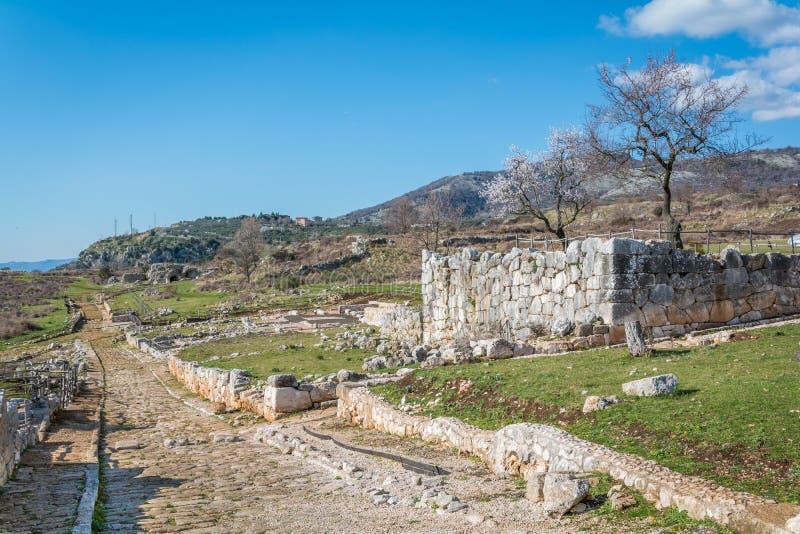 Norba, oude stad van Latium op de westelijke rand van Monti Lepini, de Provincie van Latina, Lazio, Italië stock foto