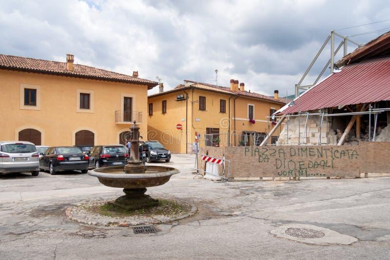 NORCIA, ITALIE LE 13 JUILLET 2019 : Trois ans après un tremblement de terre dévastateur, beaucoup de travail n'est pas encore eff photo libre de droits