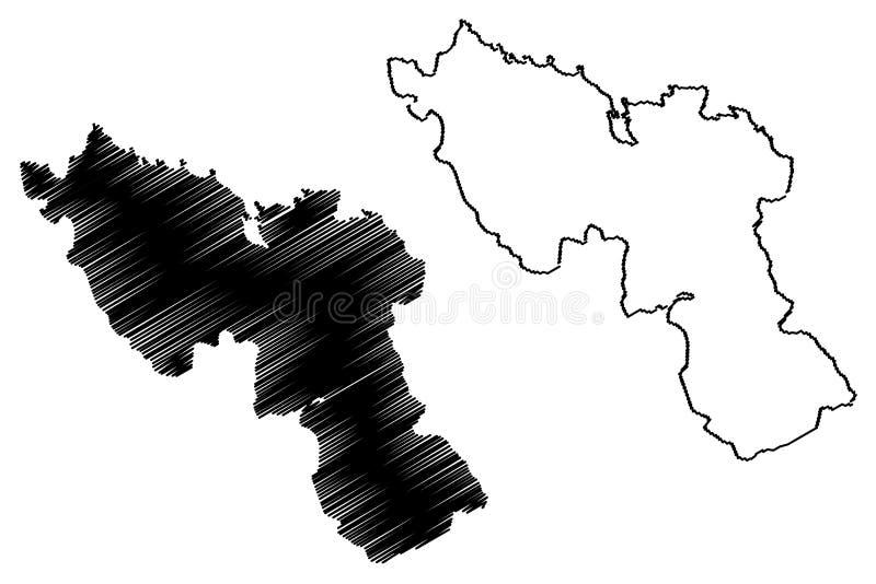 Nord-Abteilung Republik von Haiti, Hayti, Hispaniola, Abteilungen der Haiti-Kartenvektorillustration, Gekritzelskizze Nord-Karte vektor abbildung