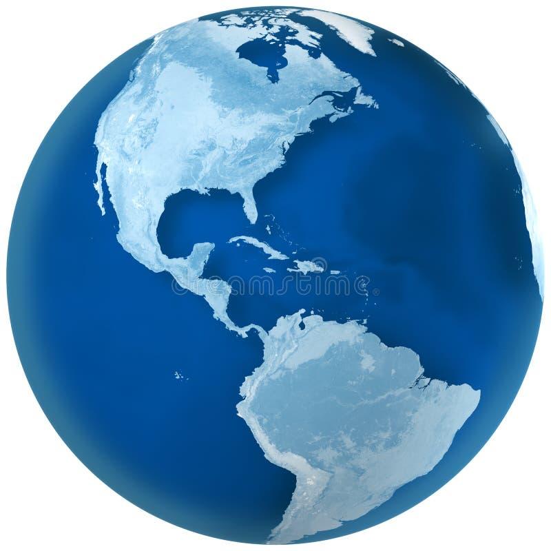 Nord bleu et l'Amérique du Sud de la terre illustration de vecteur