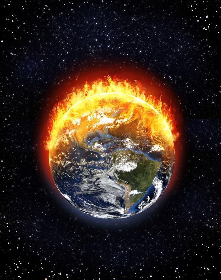 Nord brûlant de globe de la terre et l'Amérique du Sud, concept de changement climatique illustration stock