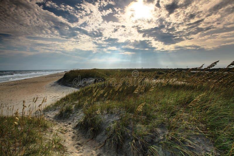 Nord Carolina leggera della spiaggia di Hatteras del capo di mattina immagine stock libera da diritti