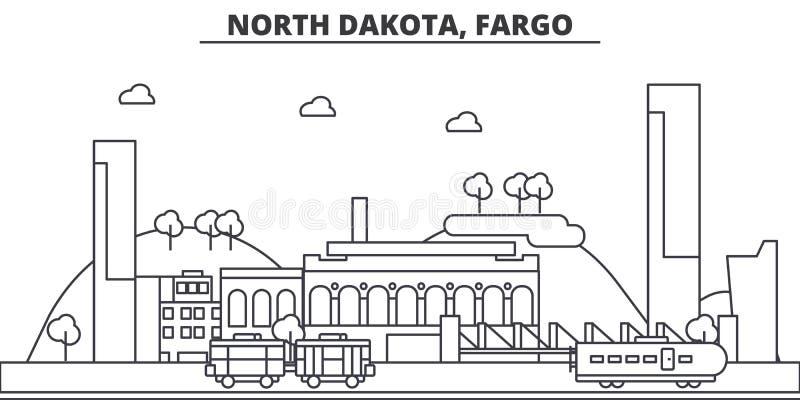Nord Dakota, linea illustrazione di architettura di Fargo dell'orizzonte Paesaggio urbano lineare con i punti di riferimento famo royalty illustrazione gratis