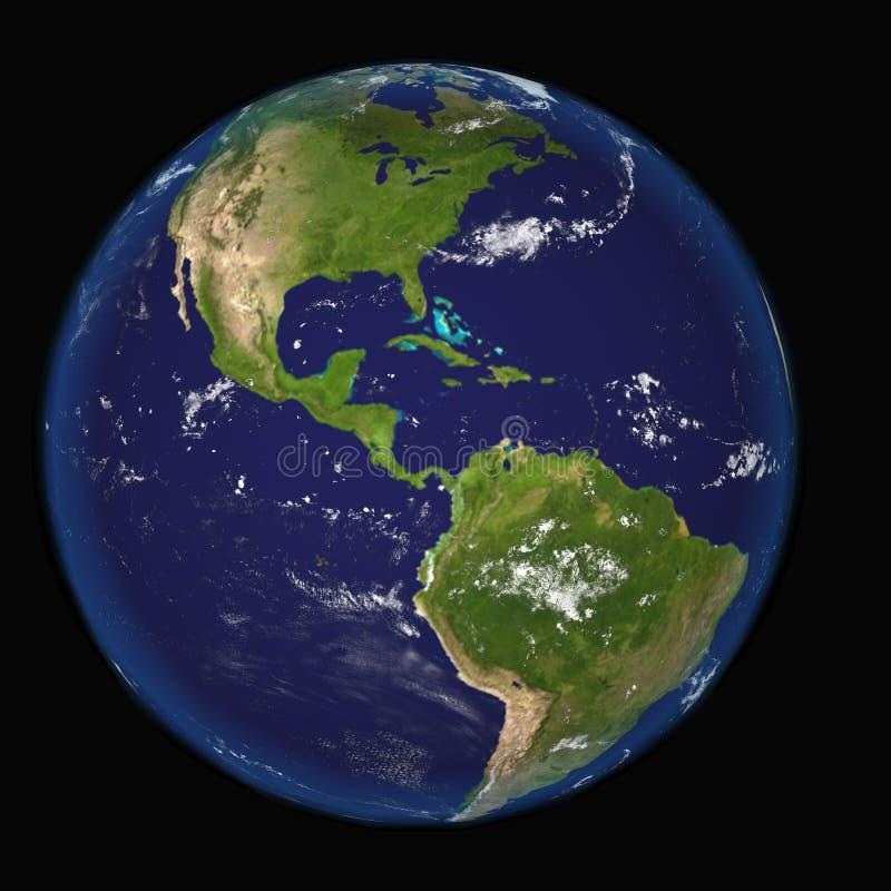 Nord de globe et illustration Mexique, 3d, texture de l'Amérique du Sud de la terre par la NASA illustration libre de droits