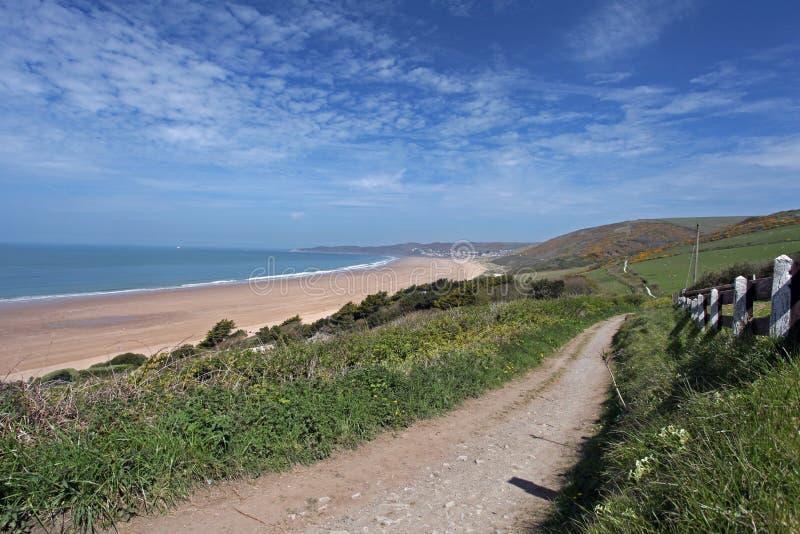 Nord-Devon Küste Woolacombe lizenzfreie stockbilder