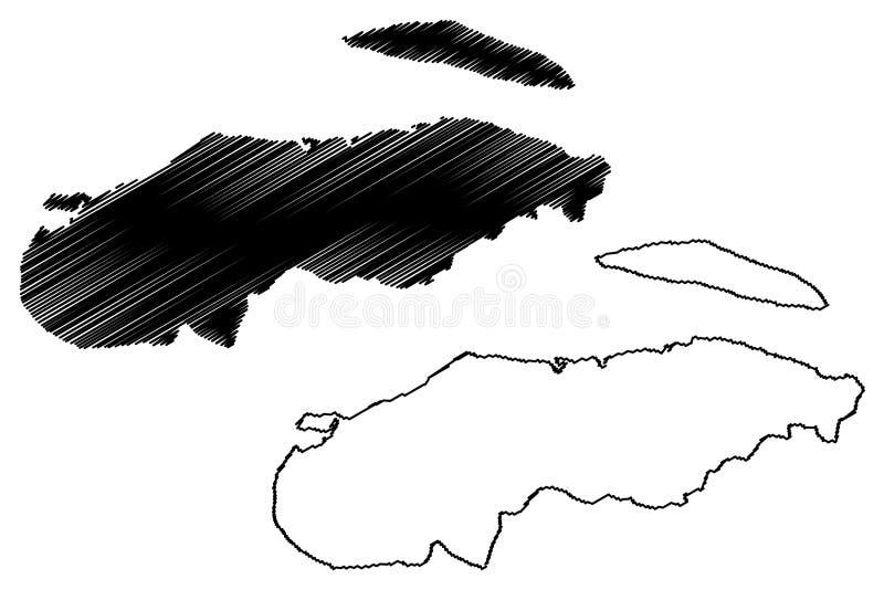 Nord-Ouestabteilung Republik von Haiti, Hayti, Hispaniola, Abteilungen der Haiti-Kartenvektorillustration, Gekritzelskizze Nord- lizenzfreie abbildung