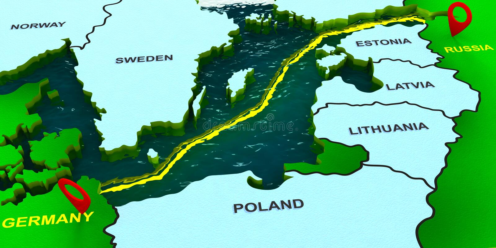 Nord stream 2. 3D map of the Nord stream 2 gas pipeline vector illustration