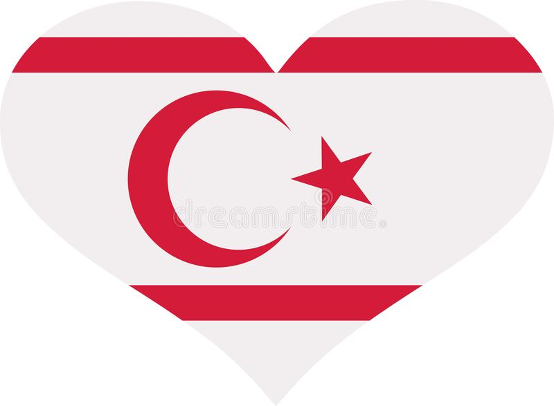 Nord-Zypern-Flaggenherz stock abbildung