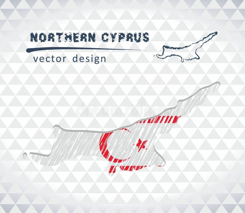 Nord-Zypern-Vektorkarte mit dem Flaggeninnere lokalisiert auf einem weißen Hintergrund Gezeichnete Illustration der Skizzenkreide lizenzfreie abbildung