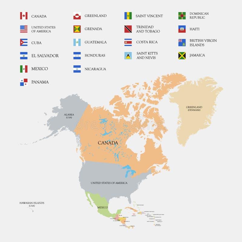 Nordamerika översikt och flaggor stock illustrationer