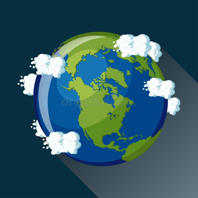 Nordamerika översikt på planetjord, sikt från utrymme royaltyfri illustrationer