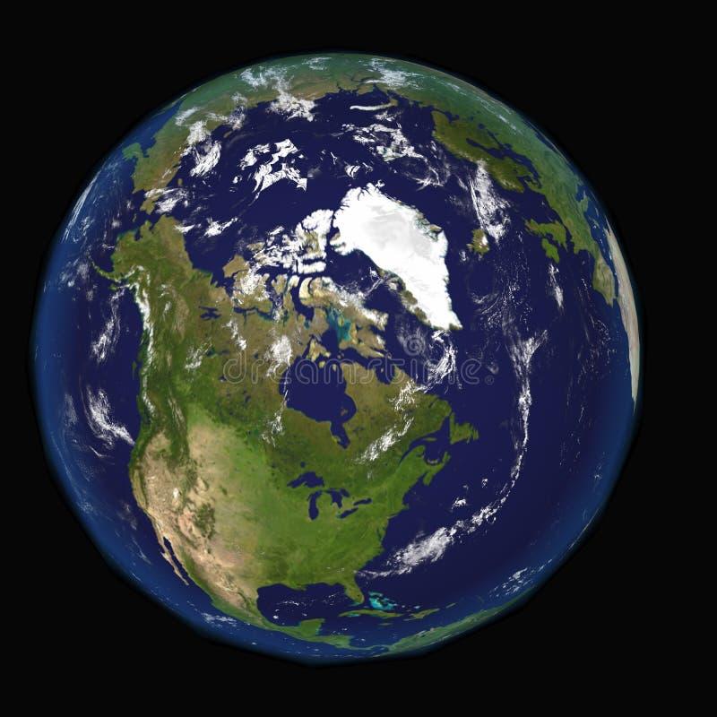 Nordamerika Kanada USA från utrymme Beståndsdelar av denna 3d avbildar möblerat av NASA stock illustrationer