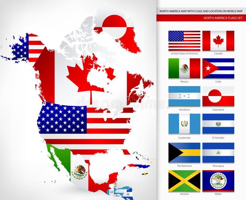 Nordamerika-Karte Mit Flaggen Vektor Abbildung - Illustration von ...