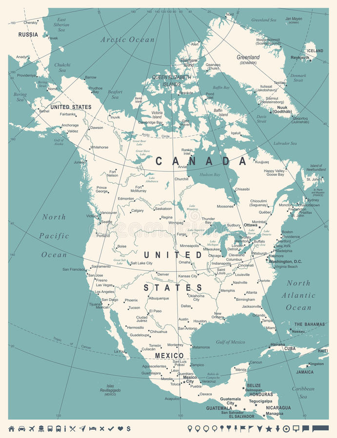 Atemberaubend Farbige Karte Von Nordamerika Fotos - Beispiel ...