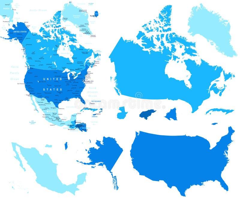 Nordamerika-Karten- und -landkonturen - Illustration lizenzfreie abbildung