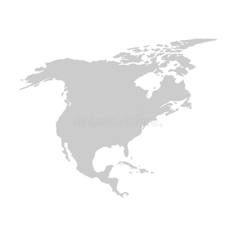 Nordamerika-Kontinent Graue Vektorschablone vektor abbildung