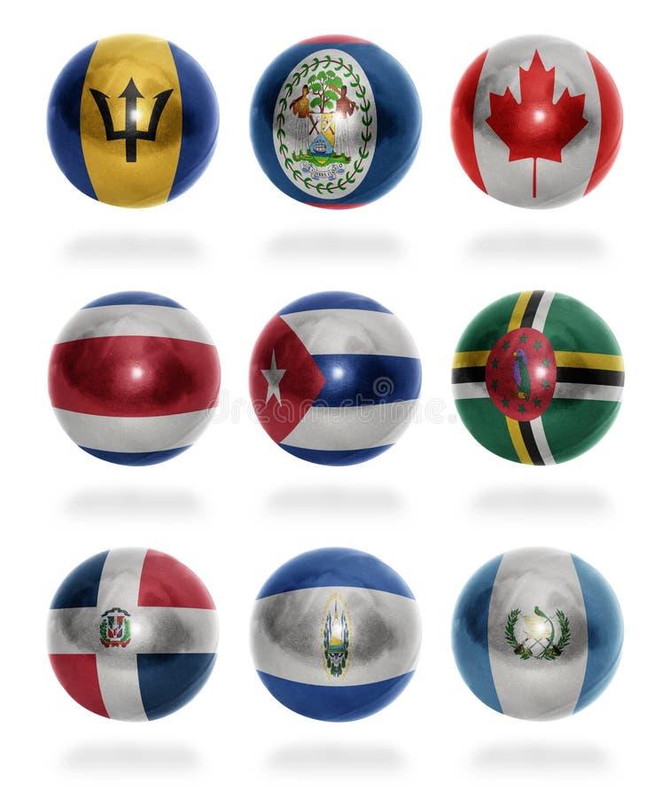 Nordamerika-Länder (von B zu G) Flaggenbälle lizenzfreie abbildung