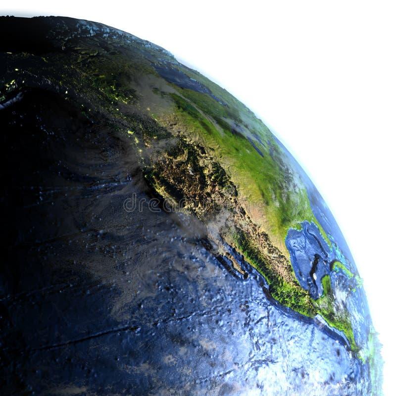 Nordamerika på jord på natten - synligt havgolv stock illustrationer