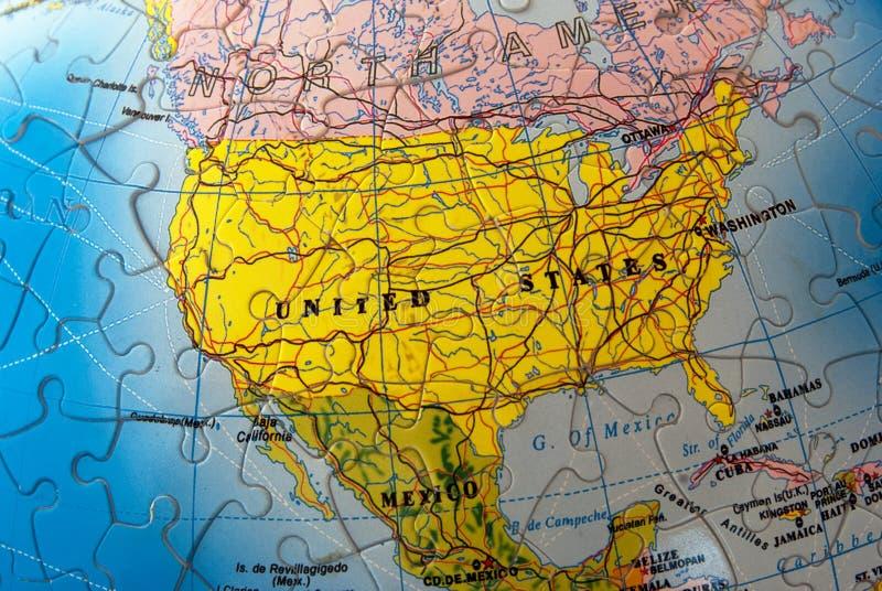 Nordamerika-Puzzlespiel stockfotografie