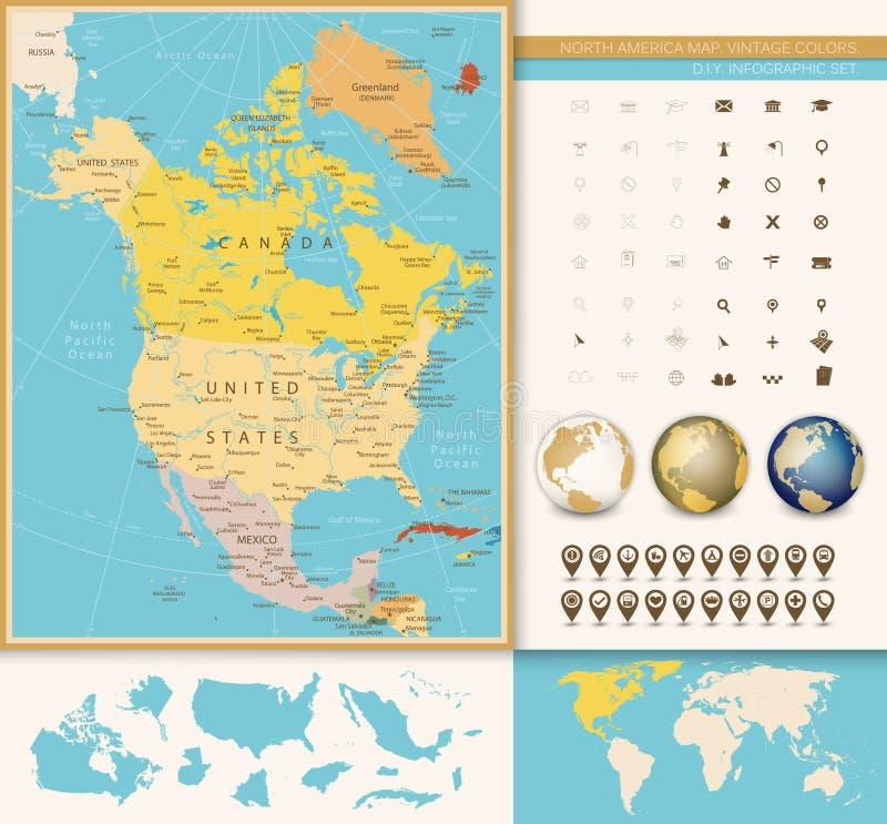 Nordamerika specificerade den politiska översikten med tappningfärger vektor illustrationer