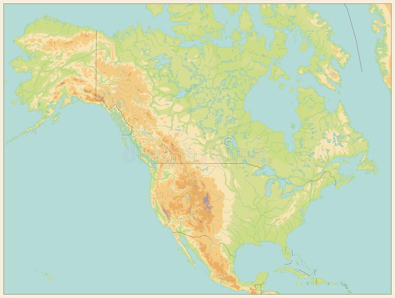 Nordamerika-Systemtest-Karte Von Hand gezeichnete Tiefenlinien und Anschläge KEIN Text lizenzfreie abbildung