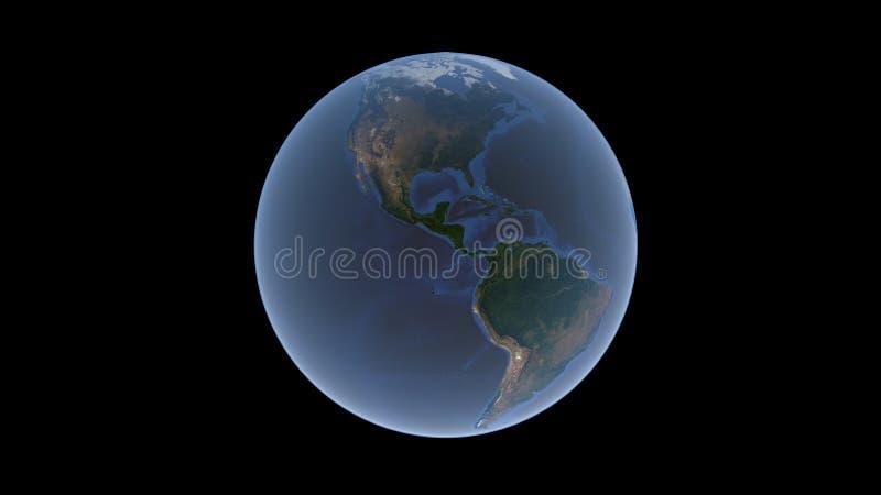Nordamerika und Südamerika umgeben durch einen blauen Ozean auf dem Erdball, eine lokalisierte Kugel, Wiedergabe 3D vektor abbildung