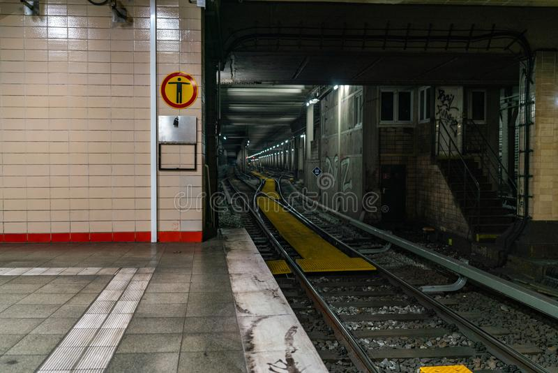 Nordbahnhof, Berlin, Germany - july 07, 2019: view from the platform into the tunnel stock photo