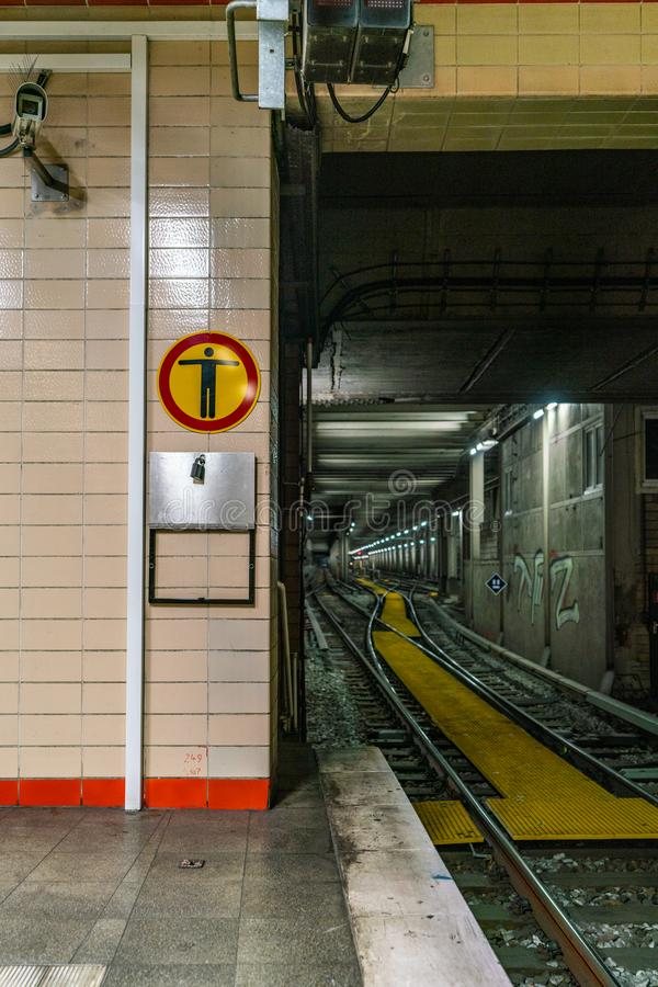 Nordbahnhof, Berlin, Germany - july 07, 2019: view from the platform into the tunnel royalty free stock photos