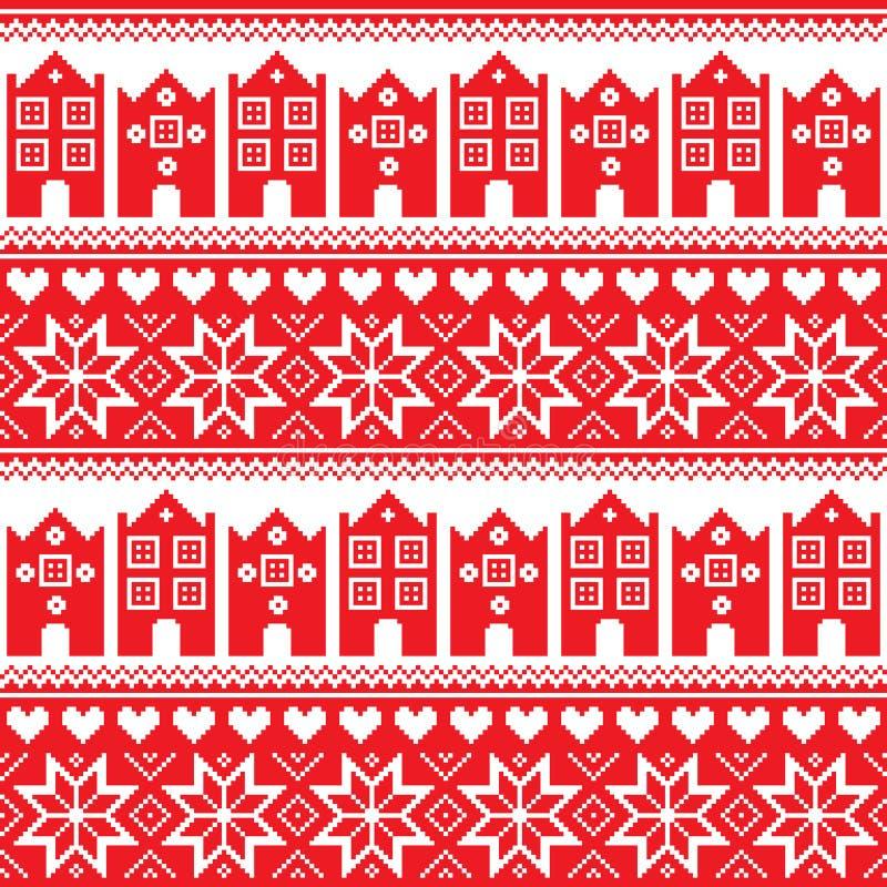 Nordbo sömlös röd modell för vinter med hus stock illustrationer