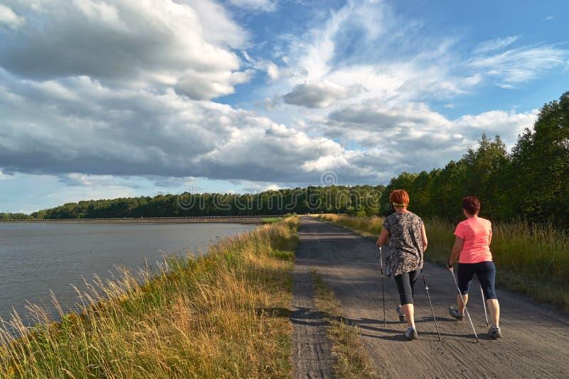 Nordbo som går - en gå med två poler för kvinna` s längs sjön arkivbilder