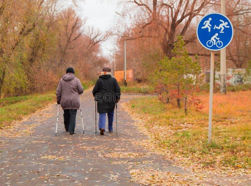 Nordbo som går för två äldre kvinnor i höst, parkerar utomhus royaltyfri foto
