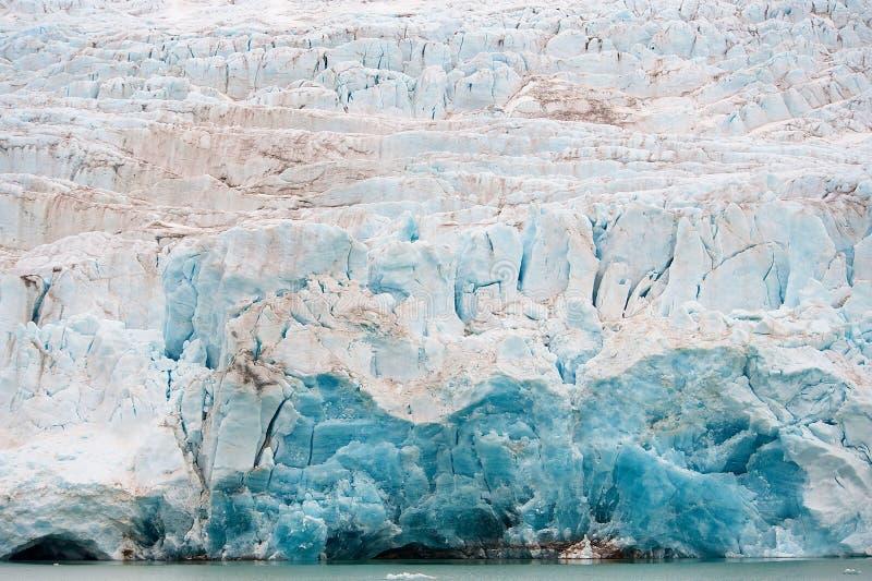Nordenskiöldbreen glacier in summer near Pyramiden on the coast of Billefjord at Svalbard. royalty free stock photos