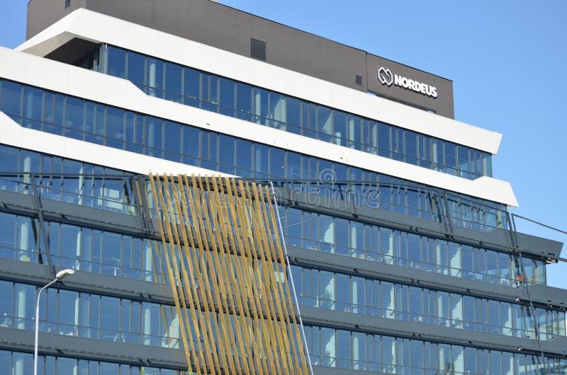 Nordeus logo na ich firm kwaterach głównych w Belgrade i budynek, Serbia Nordeus jest serbem obrazy stock