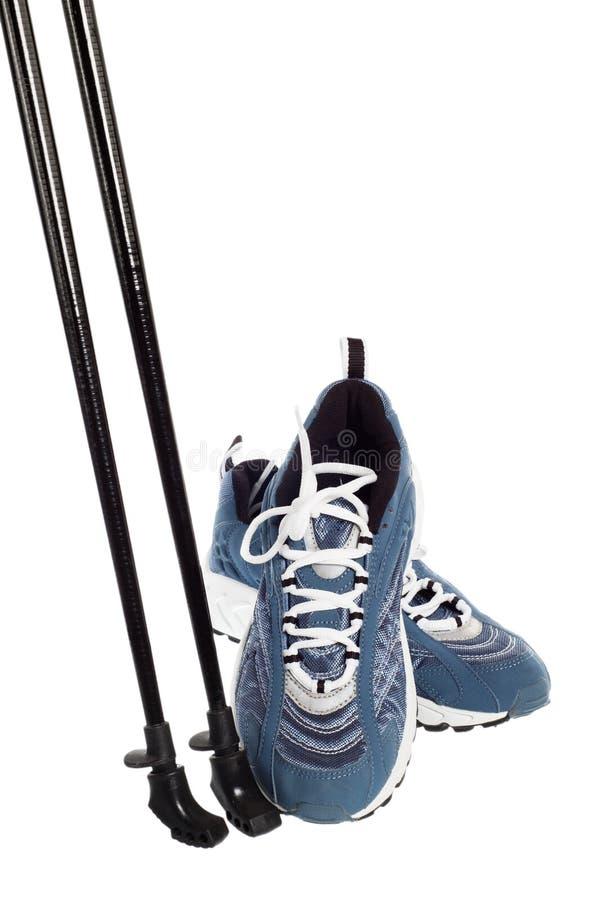 nordic обувает гулять ручек спортов стоковое фото