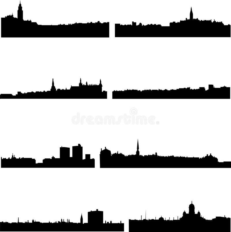 nordic стран 4 здания иллюстрация вектора