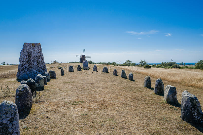 Nordic bronze age grave field in Sweden royalty free stock image