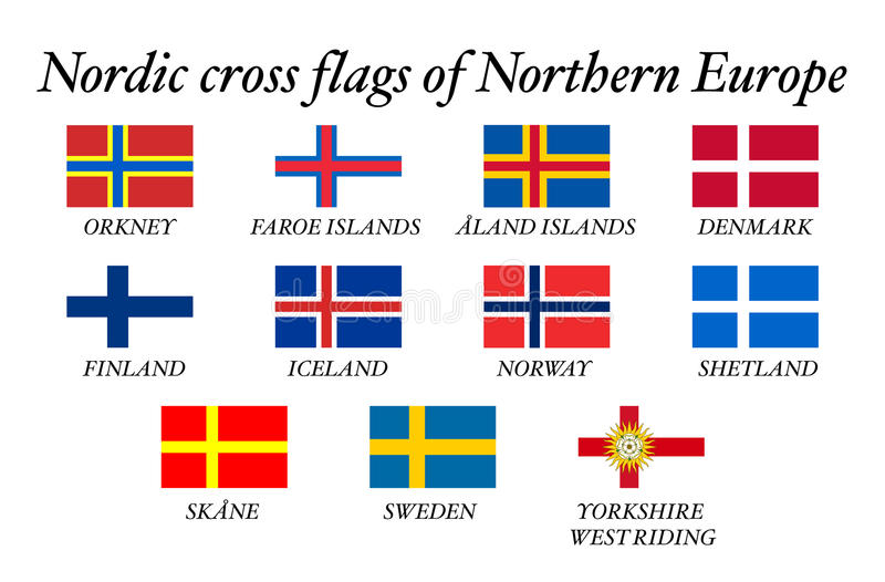 Nordic cross flags. Amazing Nordic cross flags of Northern Europe stock illustration