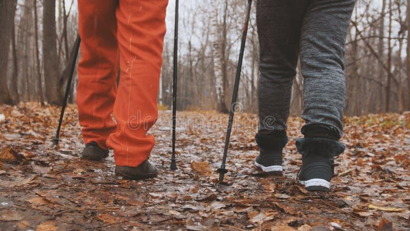 Nordic, der in Herbstpark geht - zwei ältere ältere Damen haben Sie Ausbildung die im Freien- Beine nah oben lizenzfreies stockbild