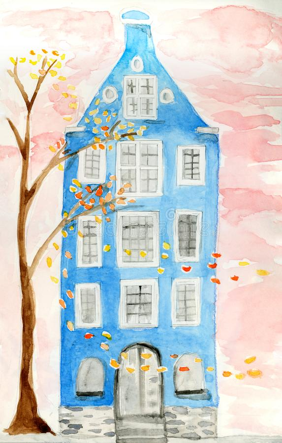 Nordic house architecture illustration hand painted royalty free stock photography