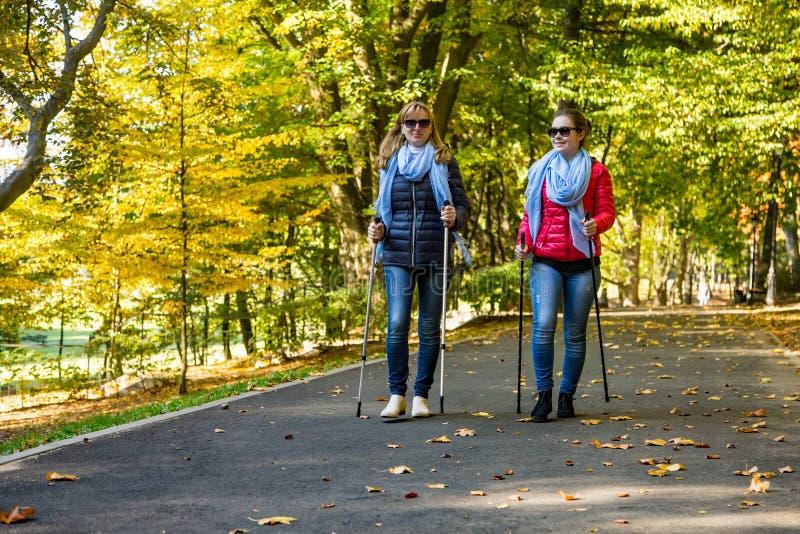 Nordic marchant - les gens établissant en parc images stock