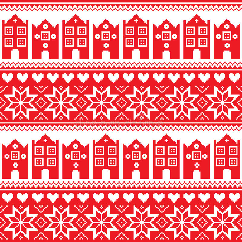 Nordic, nahtloses rotes Muster des Winters mit Häusern stock abbildung