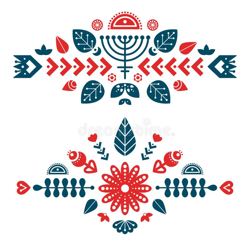 Nordic ornaments, folk art pattern. Two decorative composition. Vector template for your design stock illustration