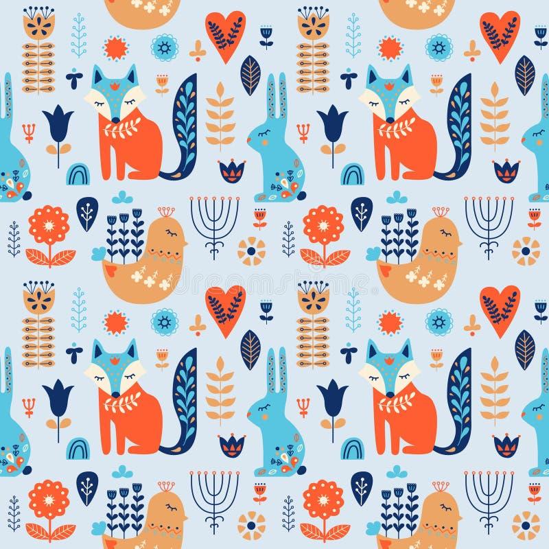 Nordic ornaments, folk art seamless pattern. Scandinavian style. Forest animal and flower. Vector illustration vector illustration