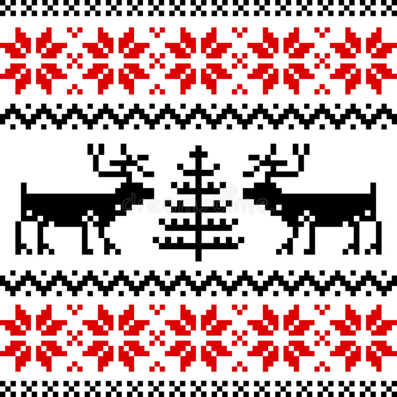 Nordic pattern. With deer, black and red silhoeuttes isolated on white background royalty free illustration