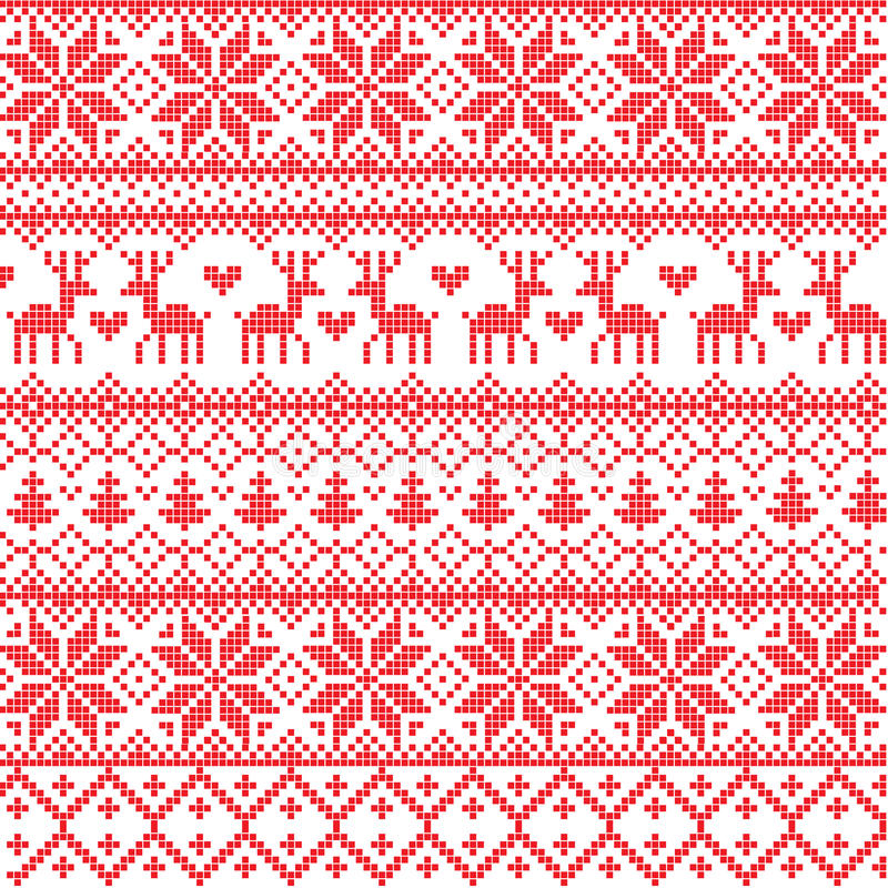 Nordic pattern. Illustrated traditional red nordic pattern vector illustration