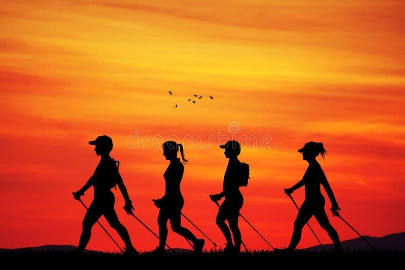 Nordic que camina en la puesta del sol libre illustration