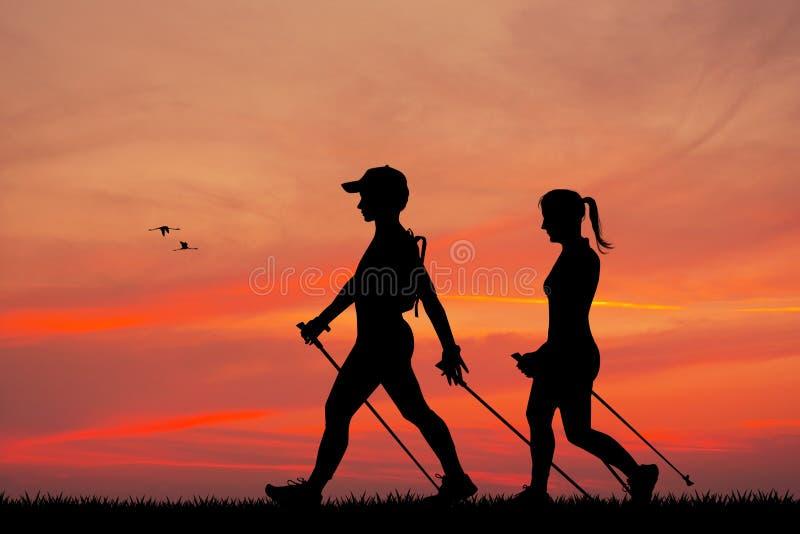 Nordic que camina en la puesta del sol ilustración del vector