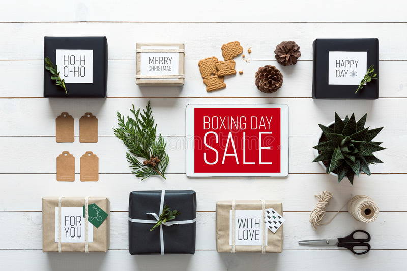 Nordic retro christmas, wrapping station, desk view from above, online shopping concept. Elegant nordic retro christmas, wrapping station, desk view from above royalty free stock images
